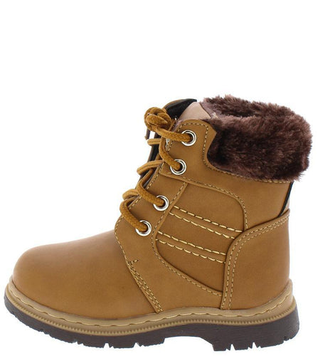 Faux Fur Lace Up  Kids Boot