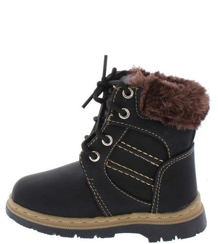 Black Faux Fur  Sole Kids Boot