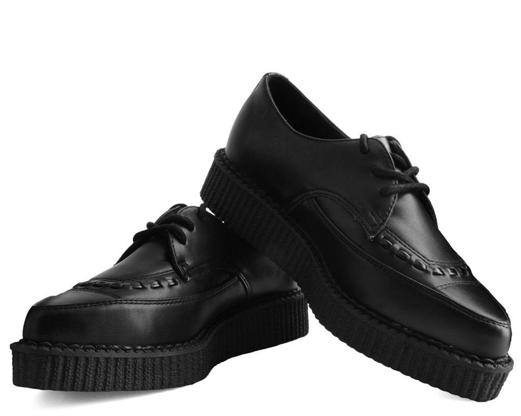 Black TUKskin™ Lace Up Pointed Creeper