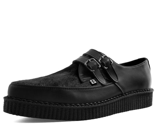 Black Leather & Cowhair 2-Buckle Pointed Creeper