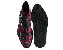 Load image into Gallery viewer, Red Plaid 4-Buckle Pointed Boot