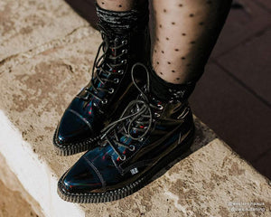 Black Hologram Pointed Lace Up Boot