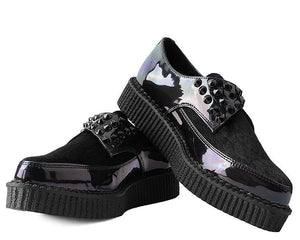 Black Hologram Faux Hair Pointed Buckle Creeper