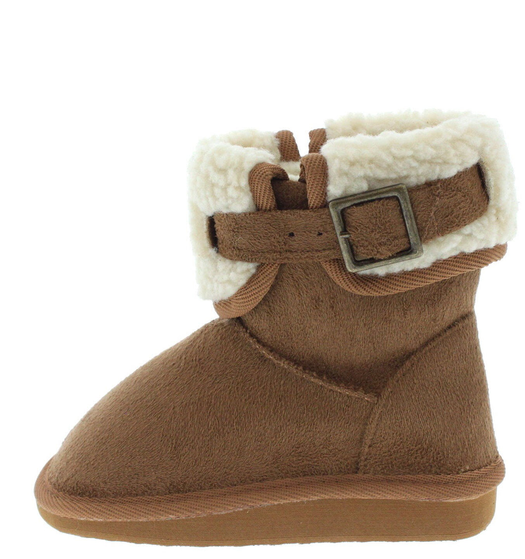 Tan Faux Fur Short Kids Boot