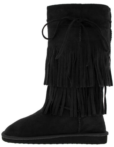 Black Fringe Flat Faux Fur Boot