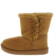 Load image into Gallery viewer, Beige Button Faux Fur Infant Boot