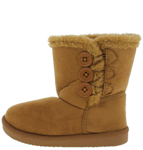 Beige Button Faux Fur Infant Boot