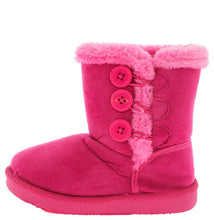 Load image into Gallery viewer, Fuchsia Button Faux Fur Infant Boot