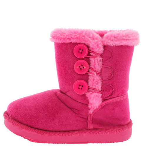 Fuchsia Button Faux Fur Infant Boot