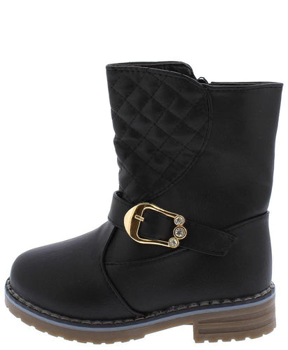 Black Rhinestone  Kids Boot