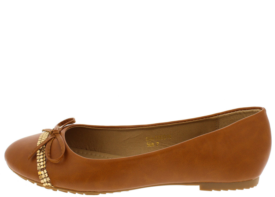 Camel Studded Strip Bow Ballet Flat