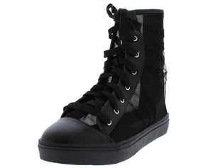 Black Tulle   High Top Boot