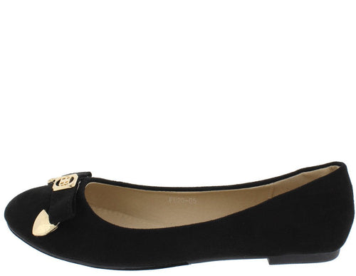 Fu2005 Black Bow Gold Accent Ballet Flat