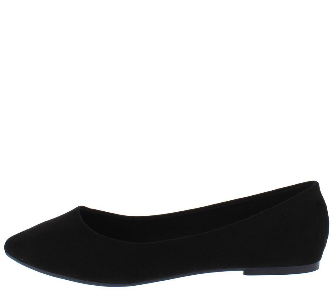Black Suede Fabric Pointed Toe Ballet Flat