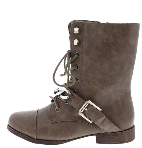 Kellie4 Taupe Chain Combat Boot
