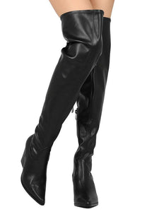 Black Pointed Toe Western Style Boot