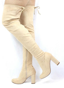 Nude Drawstring Almond Toe Thigh High Boot