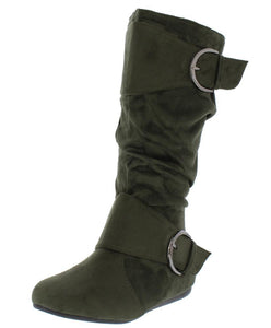 Olive Almond Toe  Mid Calf Boot