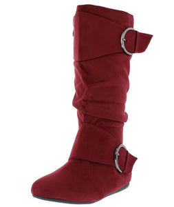 Almond Toe Dual Buckle Mid Calf Boot
