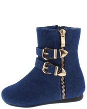 Load image into Gallery viewer, Blue Denim Double Buckle  Kids Boot