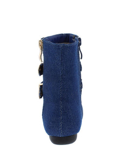 Blue Denim Double Buckle  Kids Boot