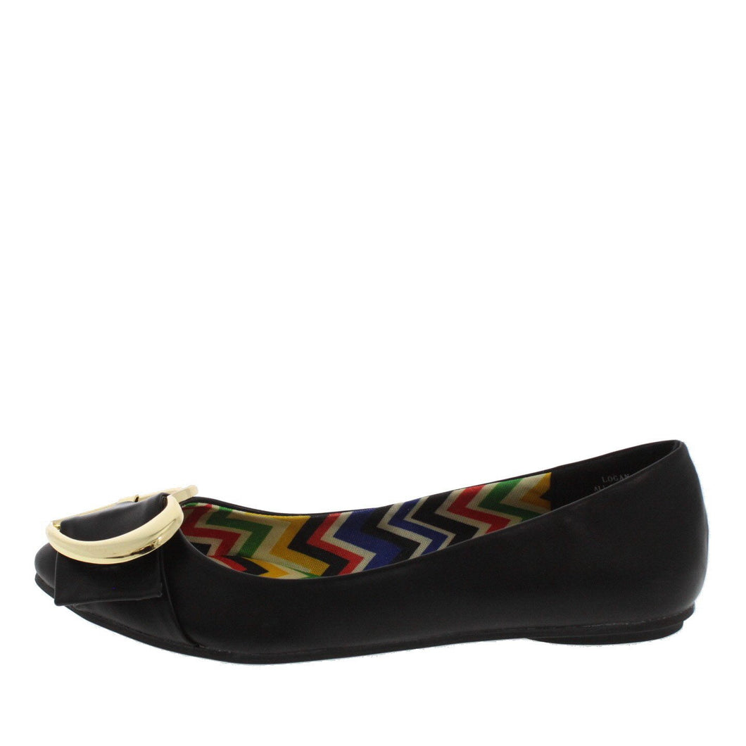 Black Gold Heart Buckle Ballet Flat