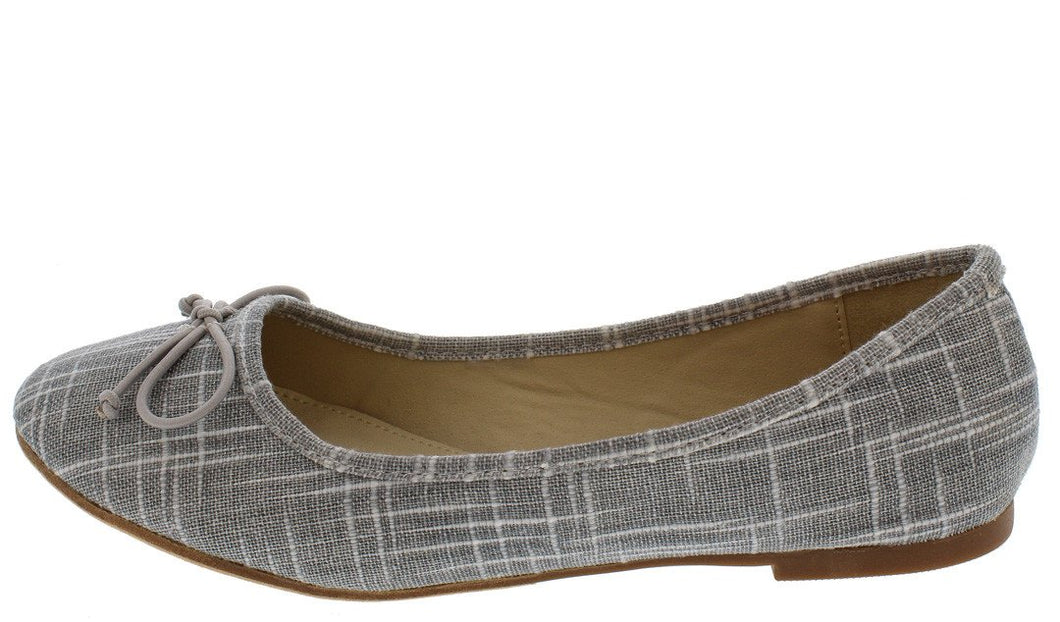 Lora7 Grey Bow Toe Ballet Flat