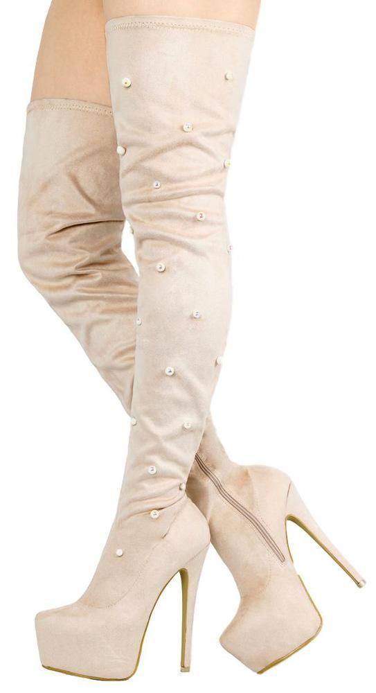Cream Thigh High Pearl Tall Platform Boot