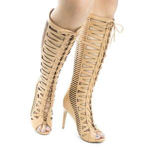 Open Toe  Lace Up Knee High Boot