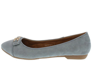 Blue Quilted Rhinestone Ballet Flat