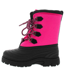 Load image into Gallery viewer, Black Fuchsia Kids Duck Rain Snow Boot