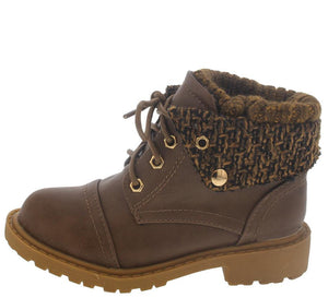 Khaki Sweater Lace Up Infant Boot
