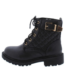 Load image into Gallery viewer, Black Quilted Gold Buckle Accent  Kids Boot