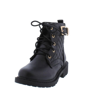 Black Quilted Gold Buckle Accent  Kids Boot