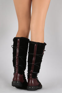 Burgundy Pu Multi Wrap Fur Lined Boot
