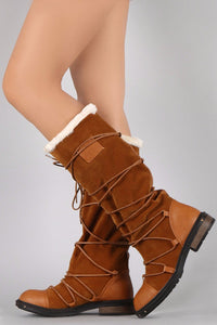 Camel Pu Multi Wrap Fur Lined Boot