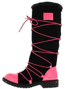 Fuchsia Pu Multi Wrap Fur Lined Boot