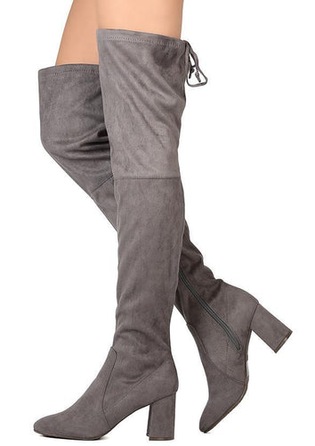 Grey  Almond Toe Heel Boot