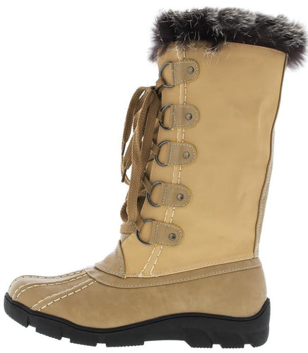 Nude Faux Fur Trim Snow Boot