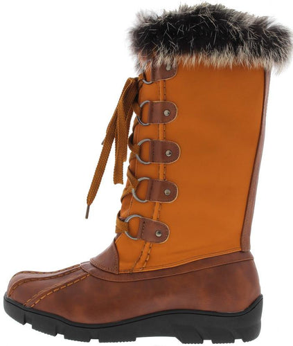 Tan Faux Fur Trim Snow Boot