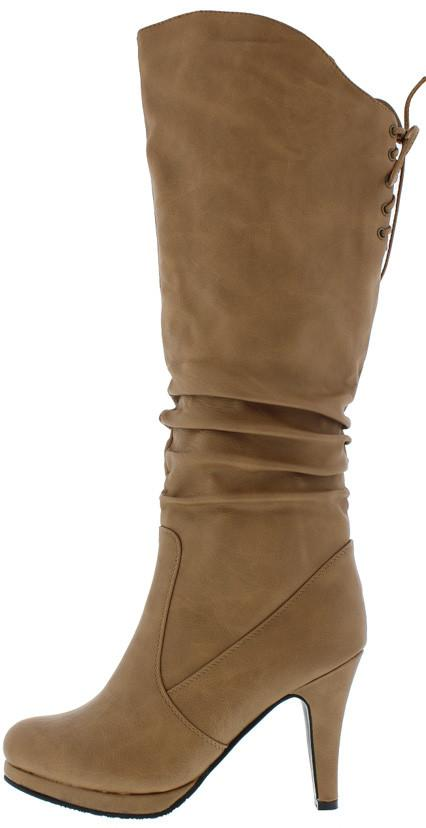 Ruched High Low Lace Up Heeled Boot