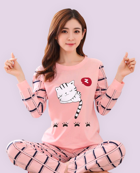 Pajamas Set Pink Cat