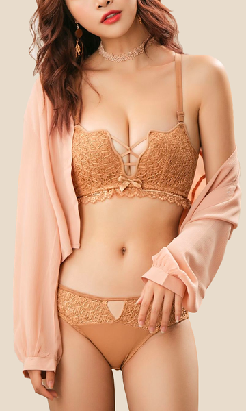 Embroidery Bra Push Up & Thin Panties Set