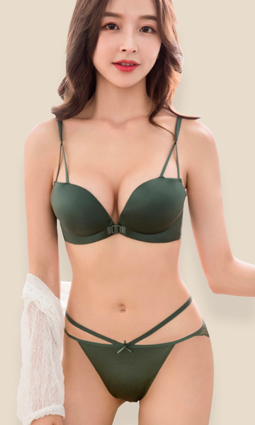 Fashion Bra Push Up + Panty Set - Green