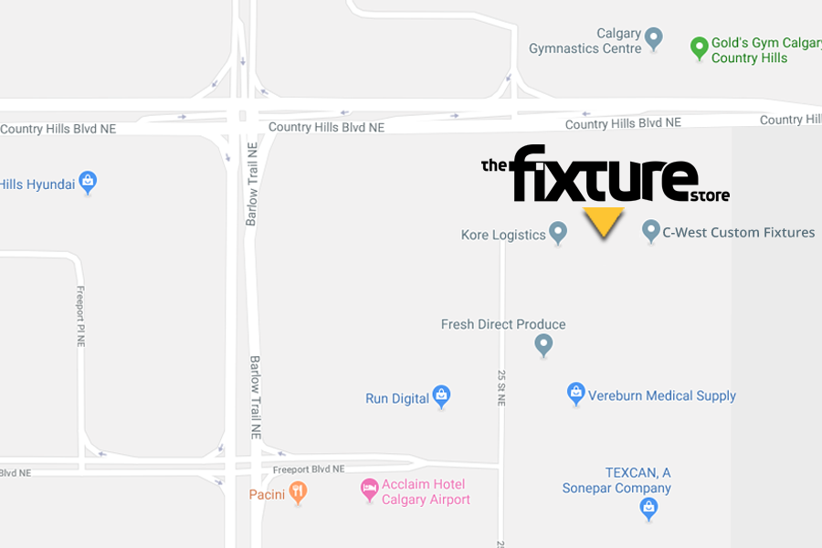 Map of Calgary showing the location of The Fixture Store