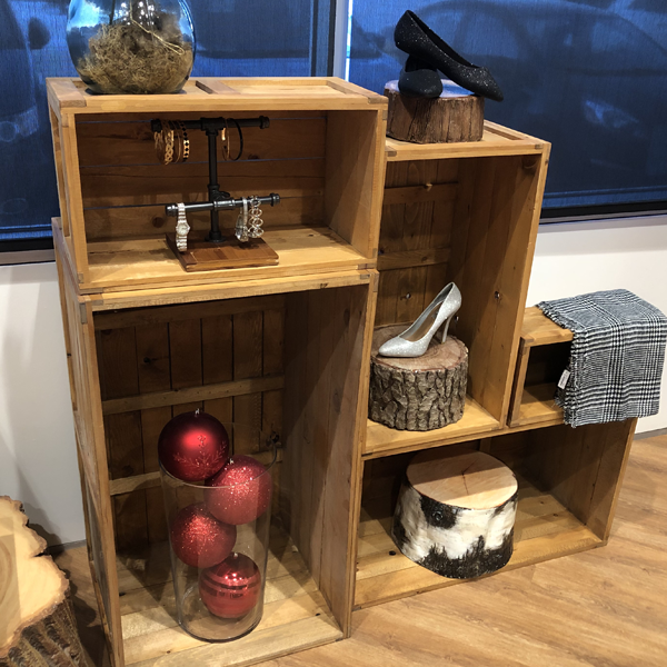our western style rustic crates set up as a holiday shoe retail display