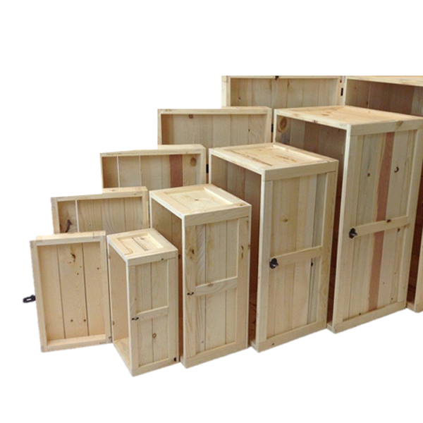 The rustic crate series 200 lined up without stain