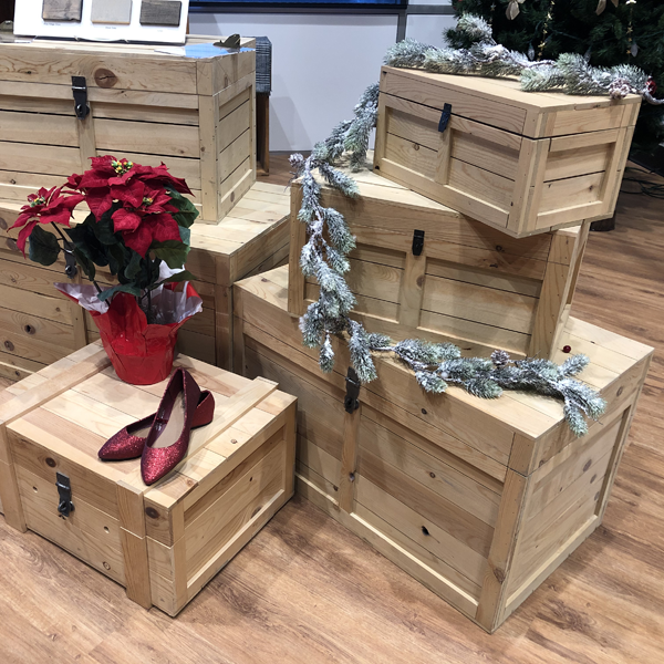 The rustic crate series 200 set up for a christmas holiday shoe retail display