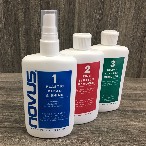 Close up of the 8 oz. Novus plastic polish and cleaner #1 #2 and #3
