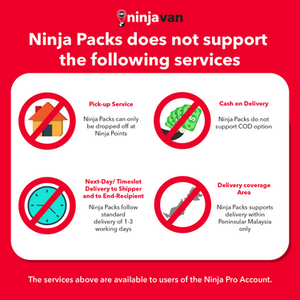 Ninja Packs do not support these services